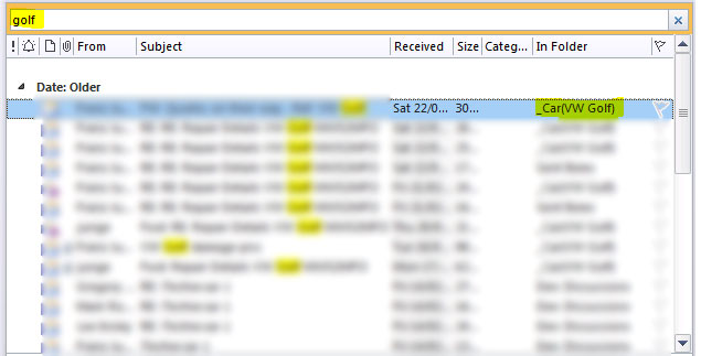 MS Outlook showing results of a 'Find in Files'