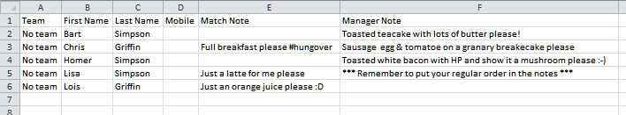 Excel showing butty orders